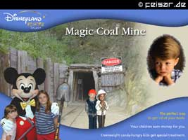 Disneyland RESORT SPARTA Magic Coal Mine DANGER THIS WORKPLACE DOES NOT GIVE A SHIRT FOR SAFETY The perfect way to get rid of your brats. Your children earn money for you. Overweight candy-hungry kids get special treatment.