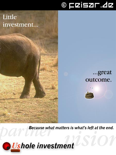 Little investment... ...great outcome. Because what matters is what's left at the end. Ushole investment